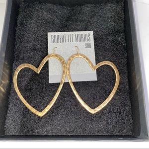 Robert Lee Morris Hammered Heart Gypsy Earrings